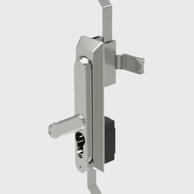 402 - Stainless steel Swing Handle with Euro profile cylinder. Gearbox operation